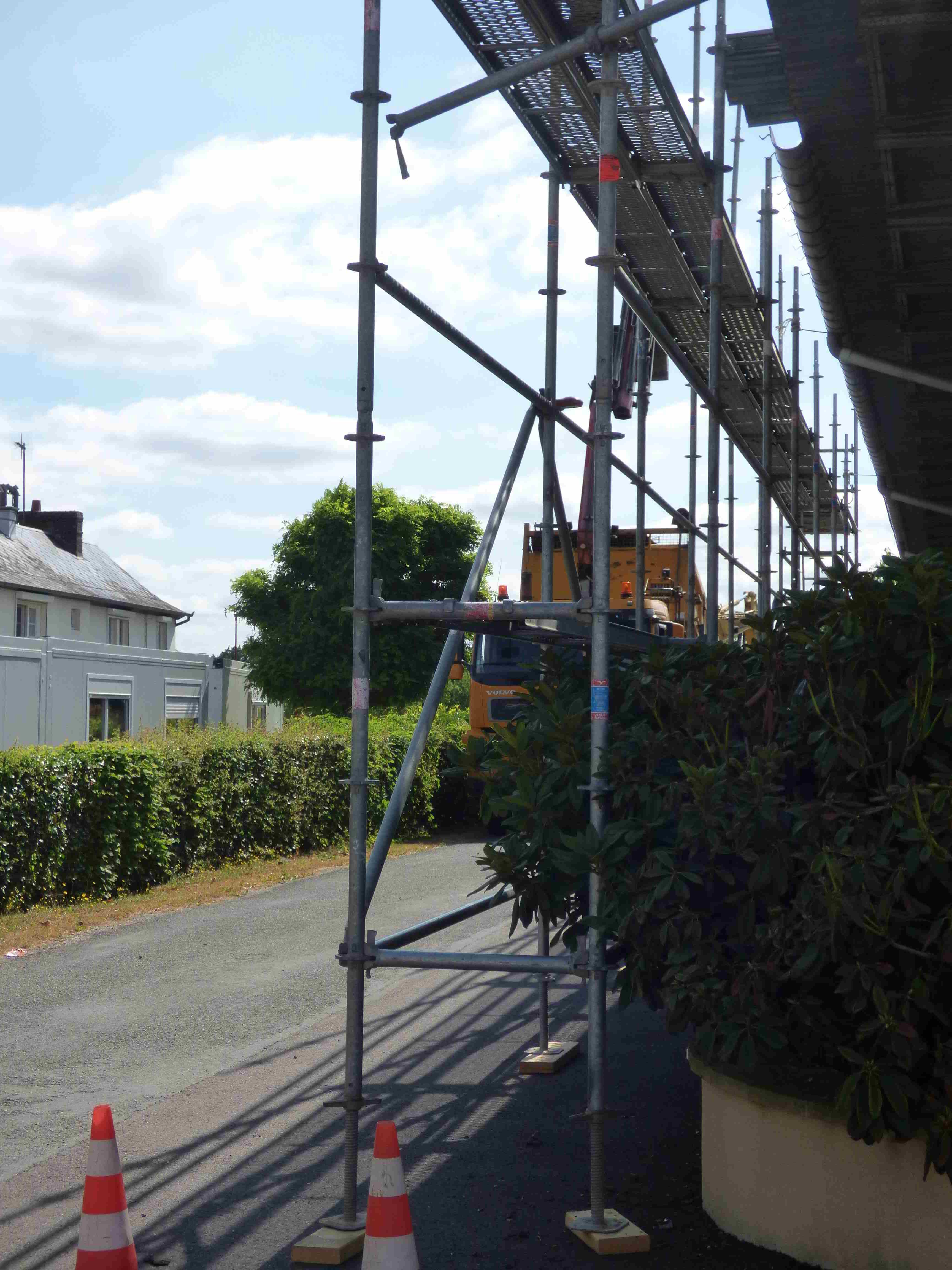 Échafaudage pour le remplacement de la toiture